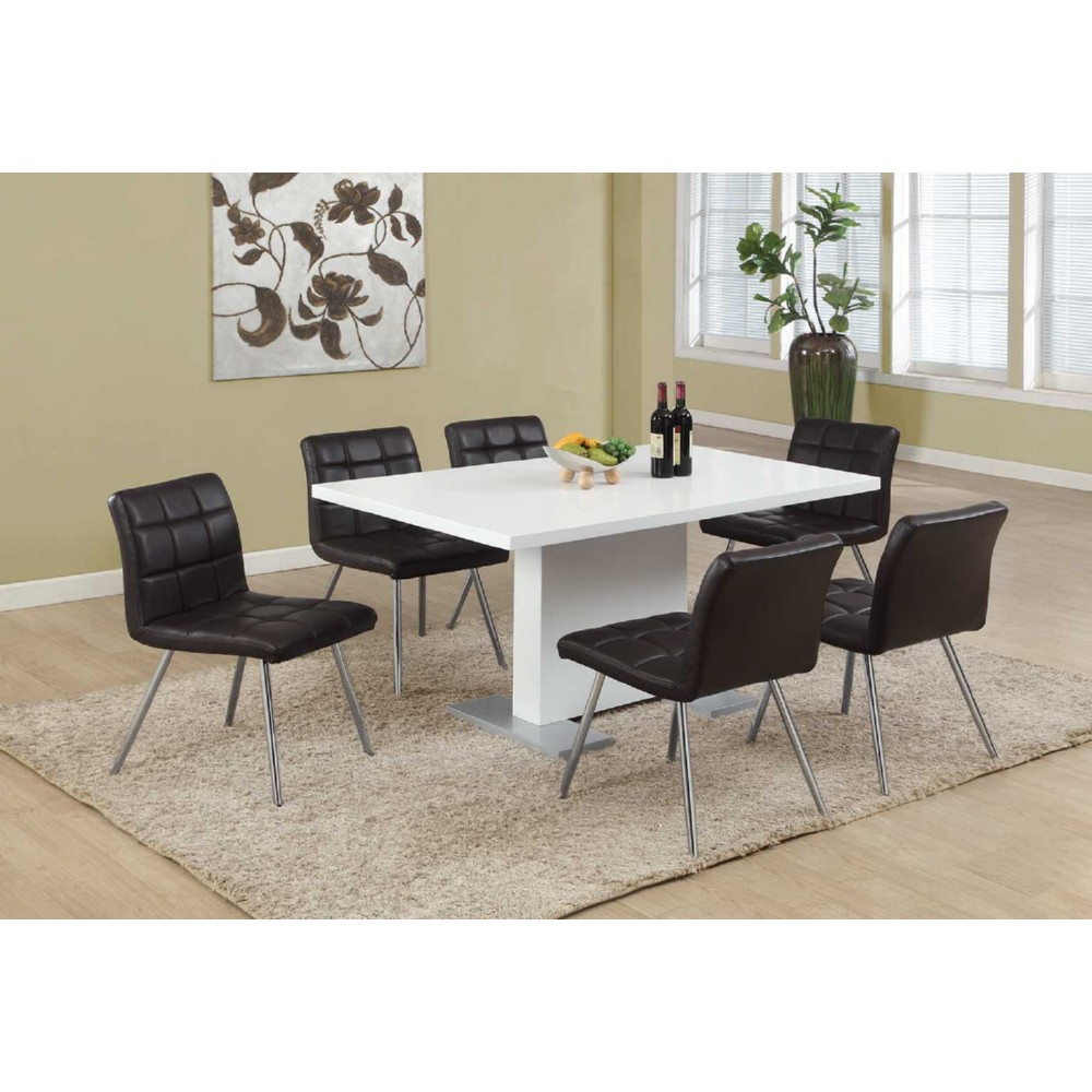 Monarch Specialties High Gloss White 60 Dining Table W Stainless Steel Feet Hover To Zoom