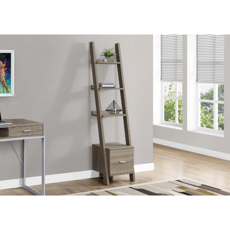 69 H Bookcase In Dark Taupe Ladder W Storage Drawer By Monarch Specialties