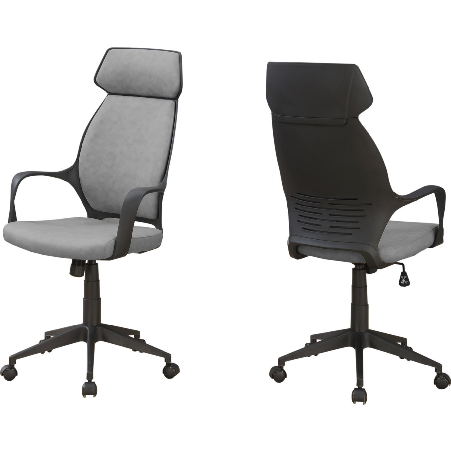 Monarch Specialties High Back Executive Office Chair In Grey Microfiber