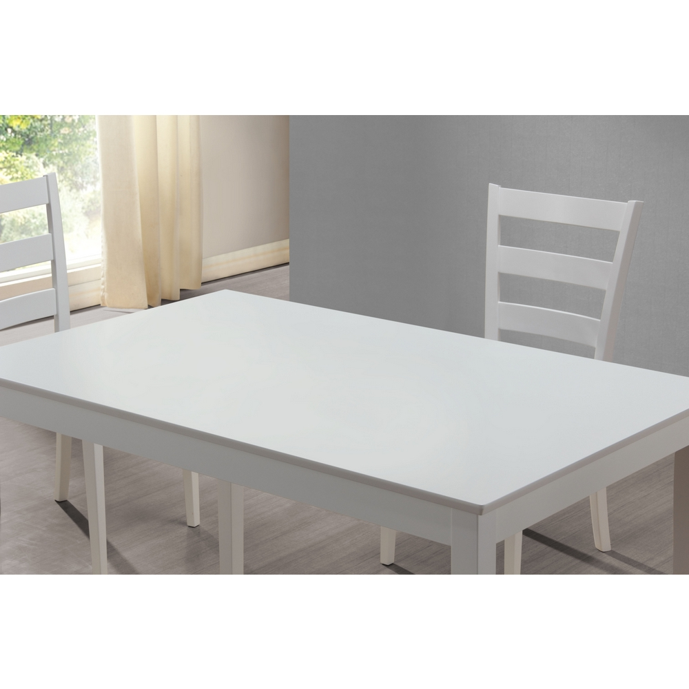 Monarch Specialties White 5 Piece Dining Set W Bench 3 Side Chairs Tap To Expand