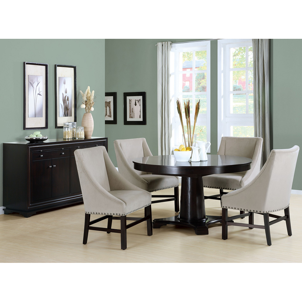 Monarch Specialties Taupe Velvet Wing Arm Dining Chair W Nailhead Trim Set Of 2