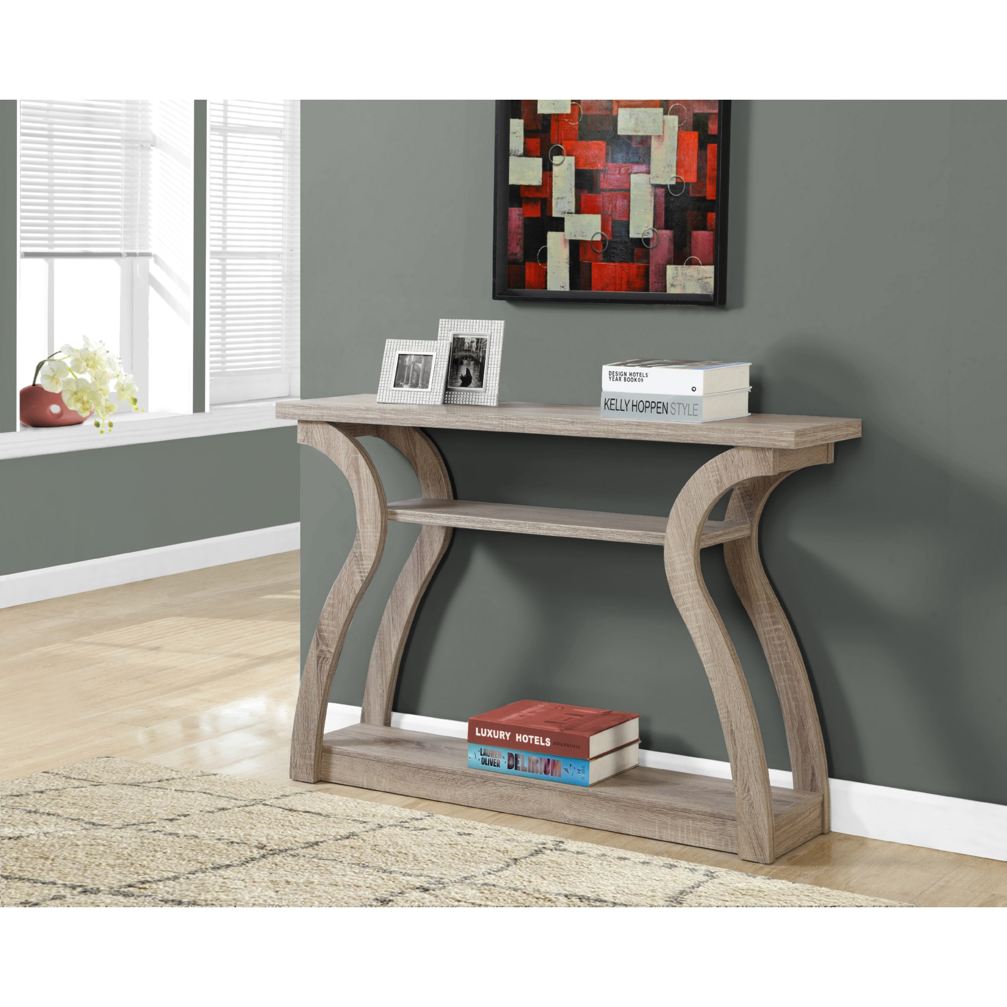 "Monarch Specialties I 2446 47"" Accent Table 3 Tier Hall Console"