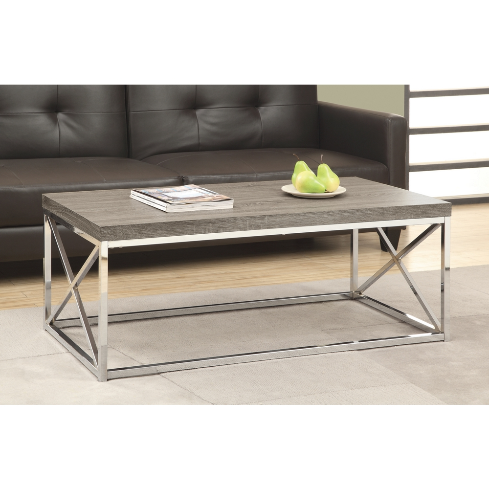 Monarch Specialties I 3258 Dark Taupe Reclaimed Wood Look Chrome Metal Coffee Table