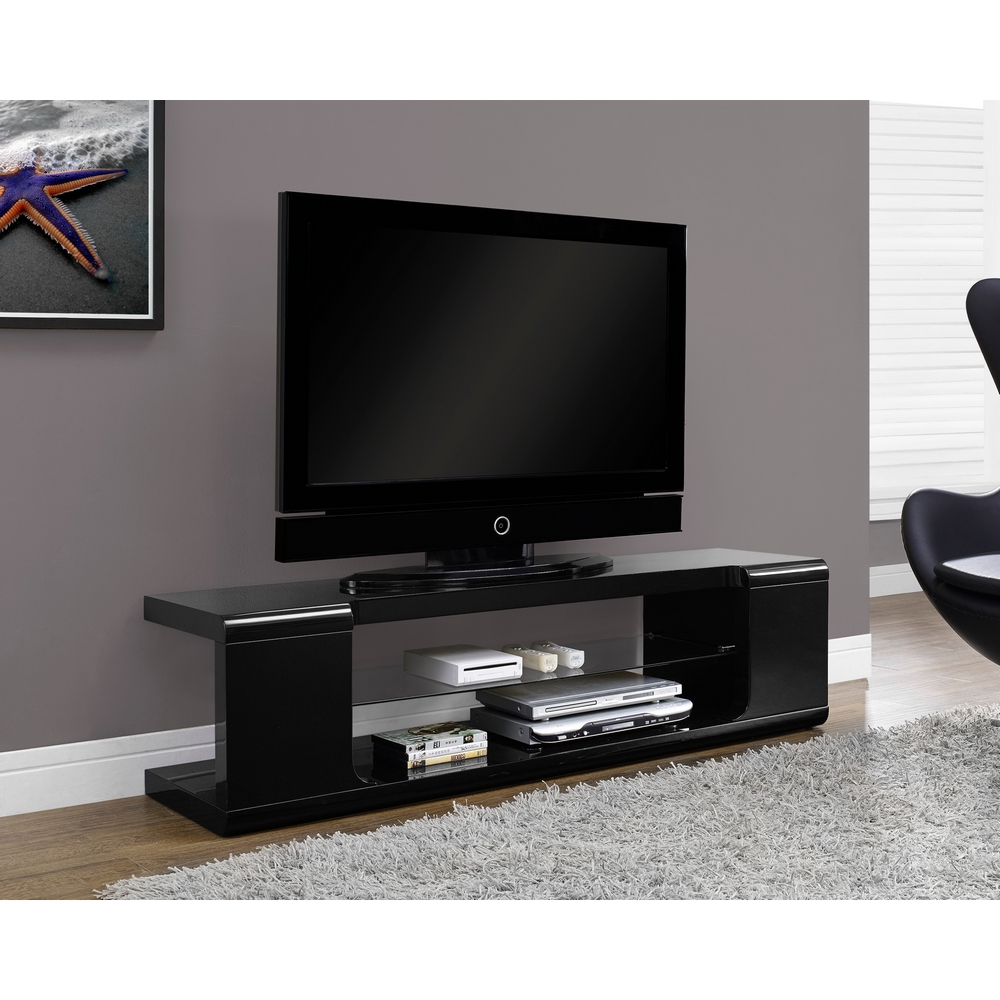 Monarch Specialties I 3536 High Gloss Black 60 Quot Tv Stand