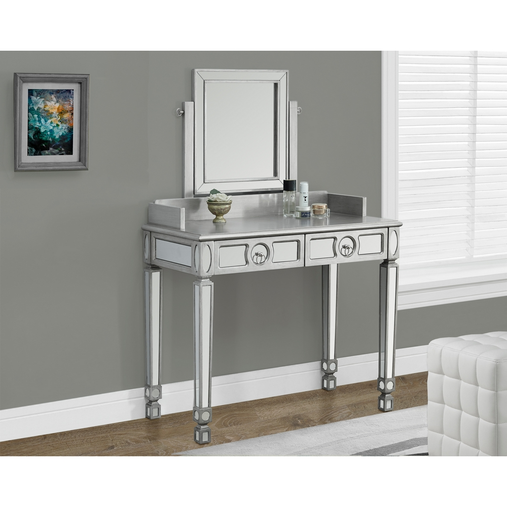 Brushed Silver & Mirrored Bedroom Vanity w/ 2 Drawers by Monarch Specialties