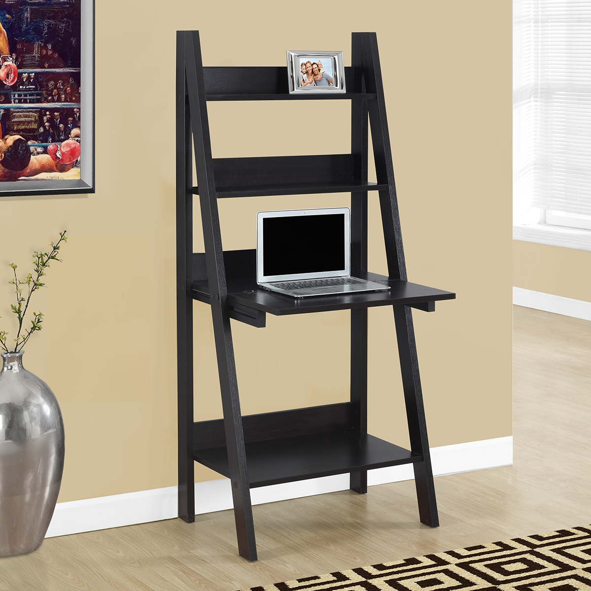 """Specialties I-7043 Computer Desk 61"""" H Ladder Style in Cappuccino"""