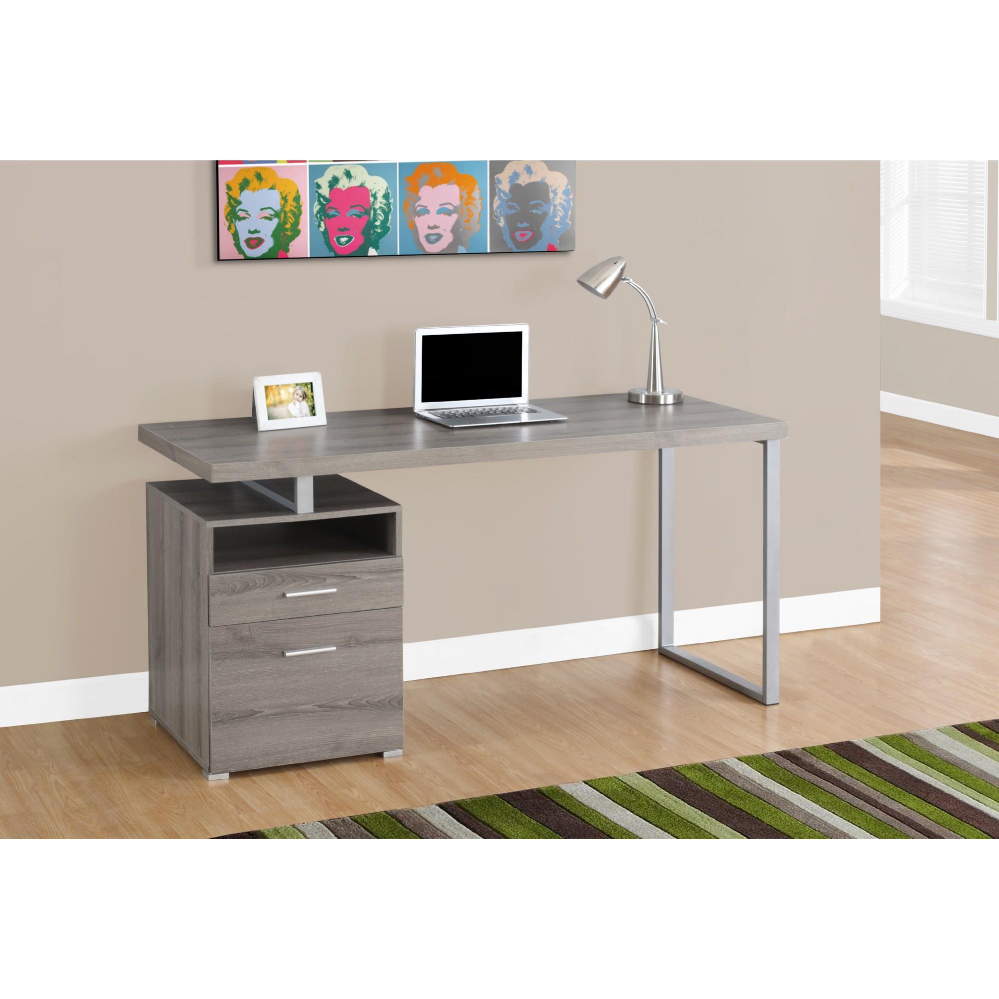 60 Computer Desk In Reclaimed Look Dark Taupe Silver Metal By Monarch Specialties