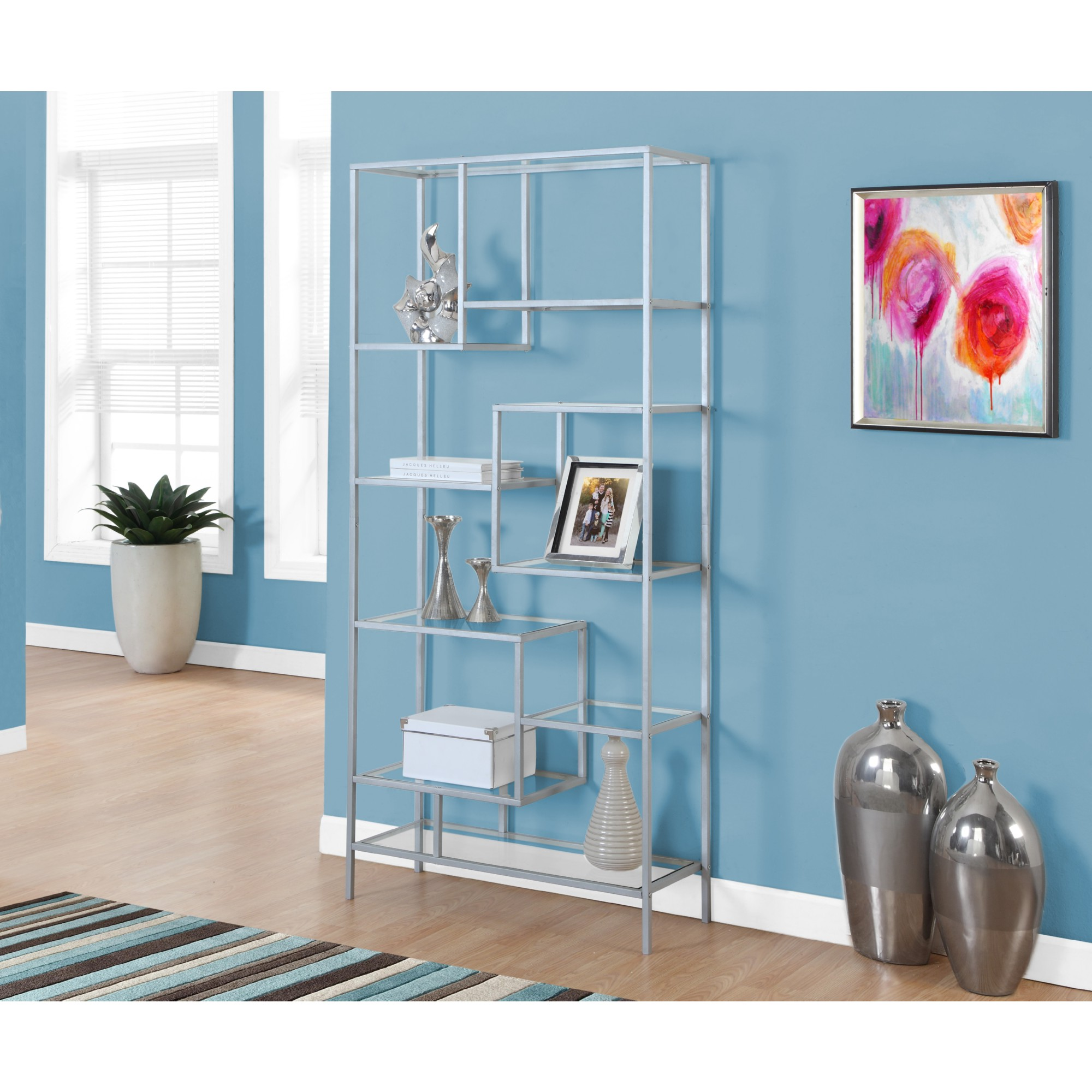 Monrach I 7158 72 Quot Bookcase In Silver Metal W 9 Asymmetrical Tempered Glass Shelves