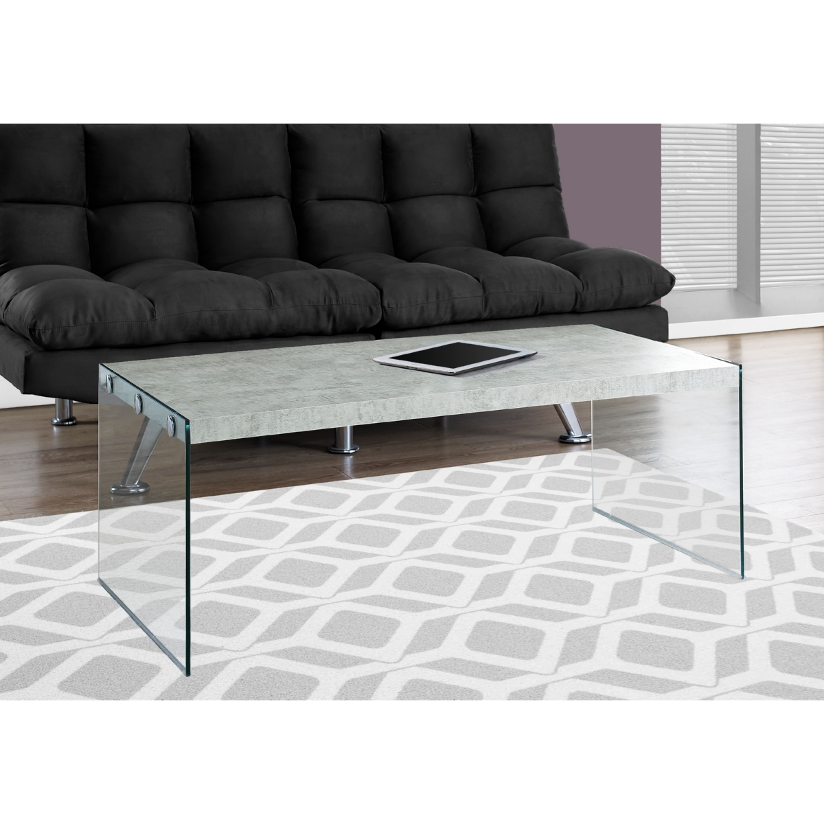 monarch specialties i-3230 coffee table in grey cement look w
