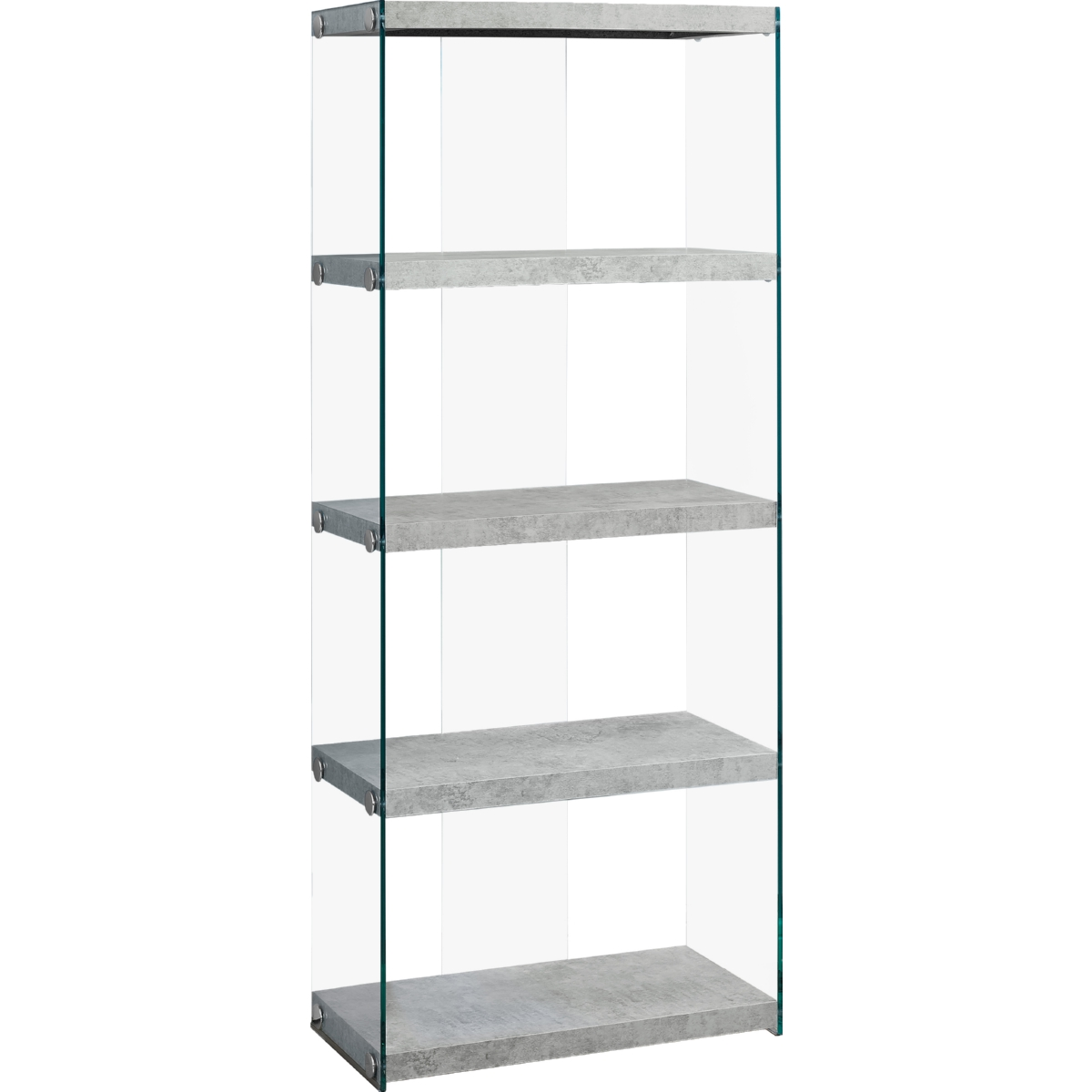 """Grey Cement With Tempered Glass 60/""""h Monarch Specialties Bookcase"""