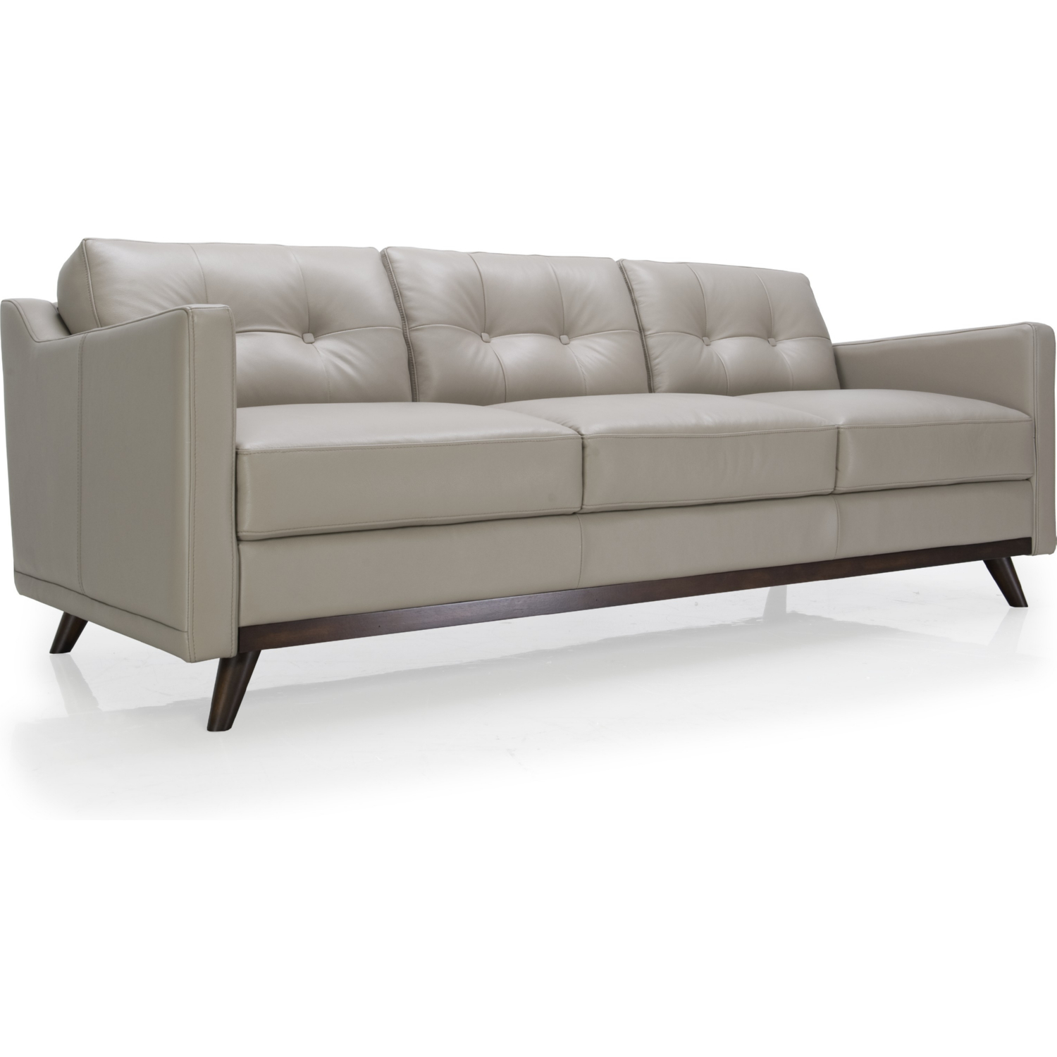 Monika All Leather Mid Century Sofa in Argent Medium Grey by Moroni Fine  Leather Furniture