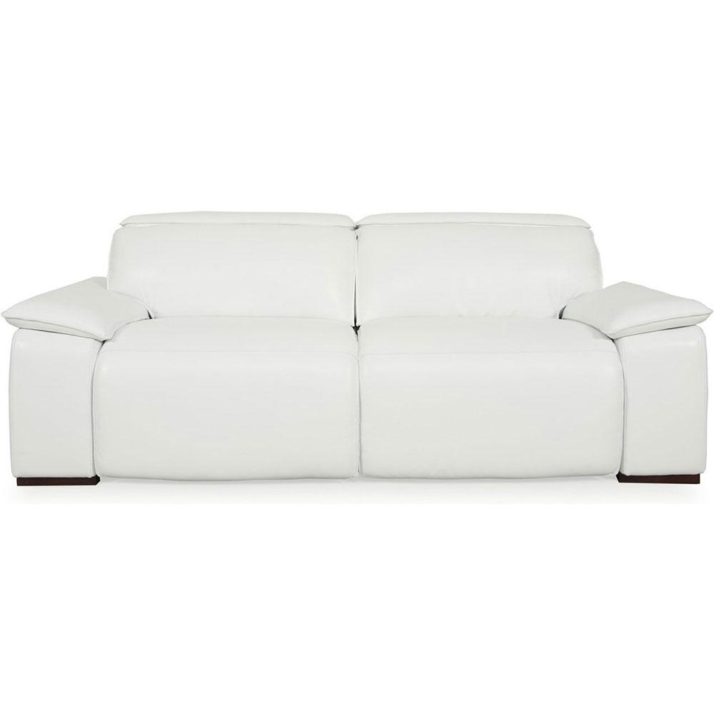Yorbita Full Top Grain Leather Power Reclining Sofa In Pure White