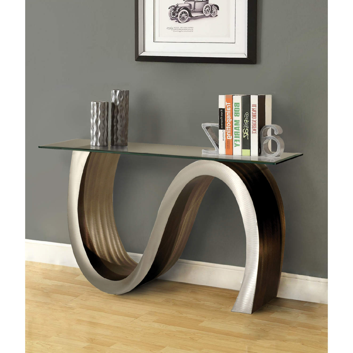 Meandering Console Table In Aluminum Tempered Gl By Nova
