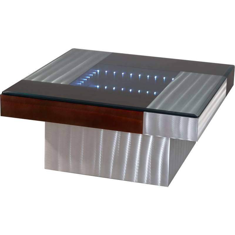 Nova Ift3616b Infinity Led Vortex Tunnel Square Coffee Table In Rootbeer Aluminum Battery Operated