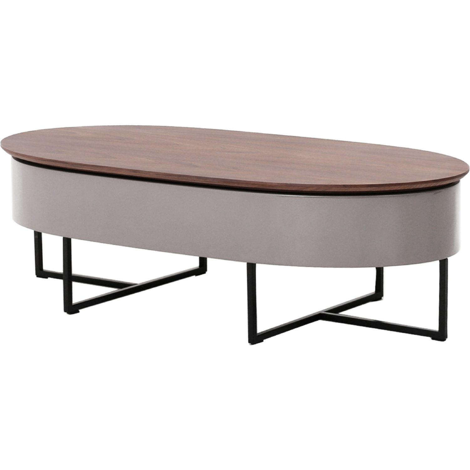 Oval Lift Top Coffee Table Part - 38: Hansel Oval Lift-Top Coffee Table In Walnut U0026 Gray On Black Iron Legs