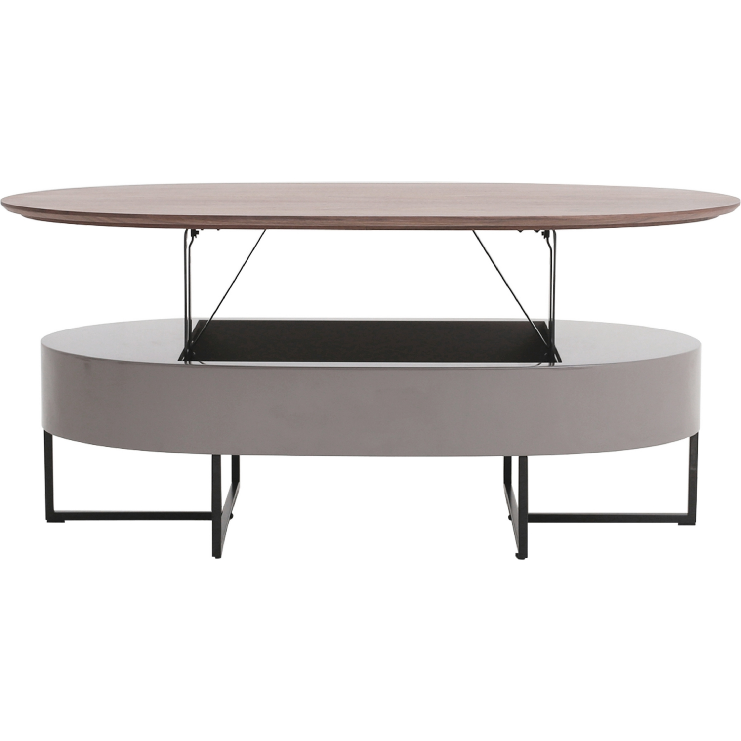 Attractive Oval Lift Top Coffee Table Part - 13: Hansel Oval Lift-Top Coffee Table In Walnut U0026 Gray On Black Iron Legs
