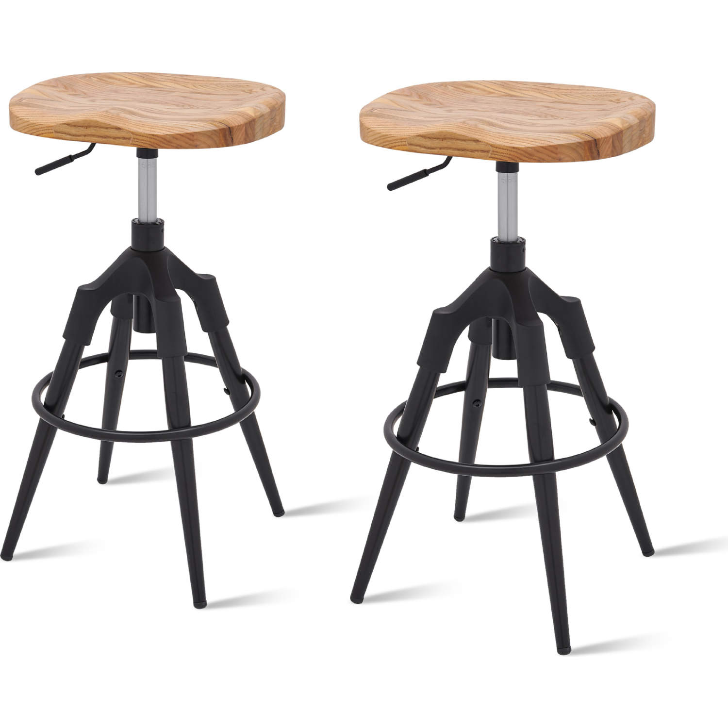 Miraculous Elton Swivel Backless Bar Stool In Wood Black Steel Set Of 2 By New Pacific Direct Pabps2019 Chair Design Images Pabps2019Com
