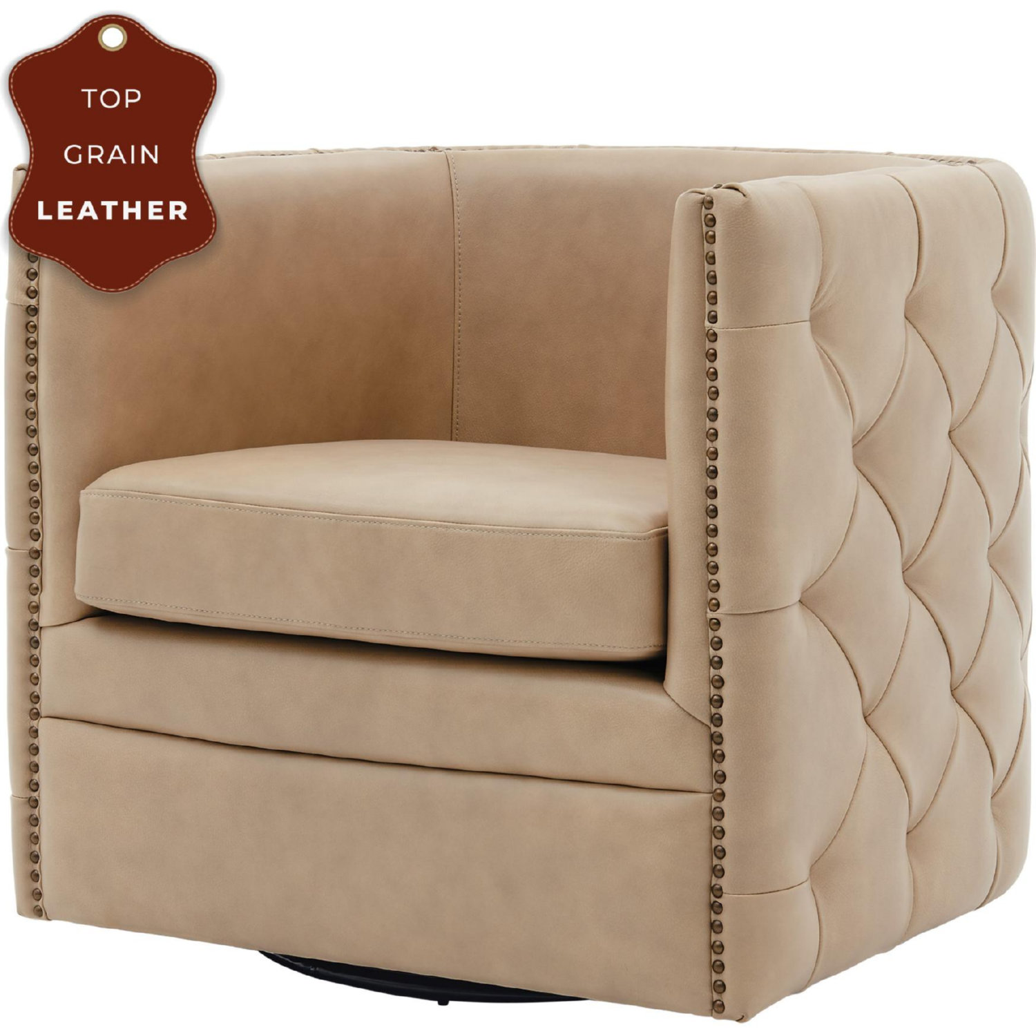 Picture of: Npd 1900152 427 Leslie Swivel Accent Chair In Tufted Beige Top Grain Leather