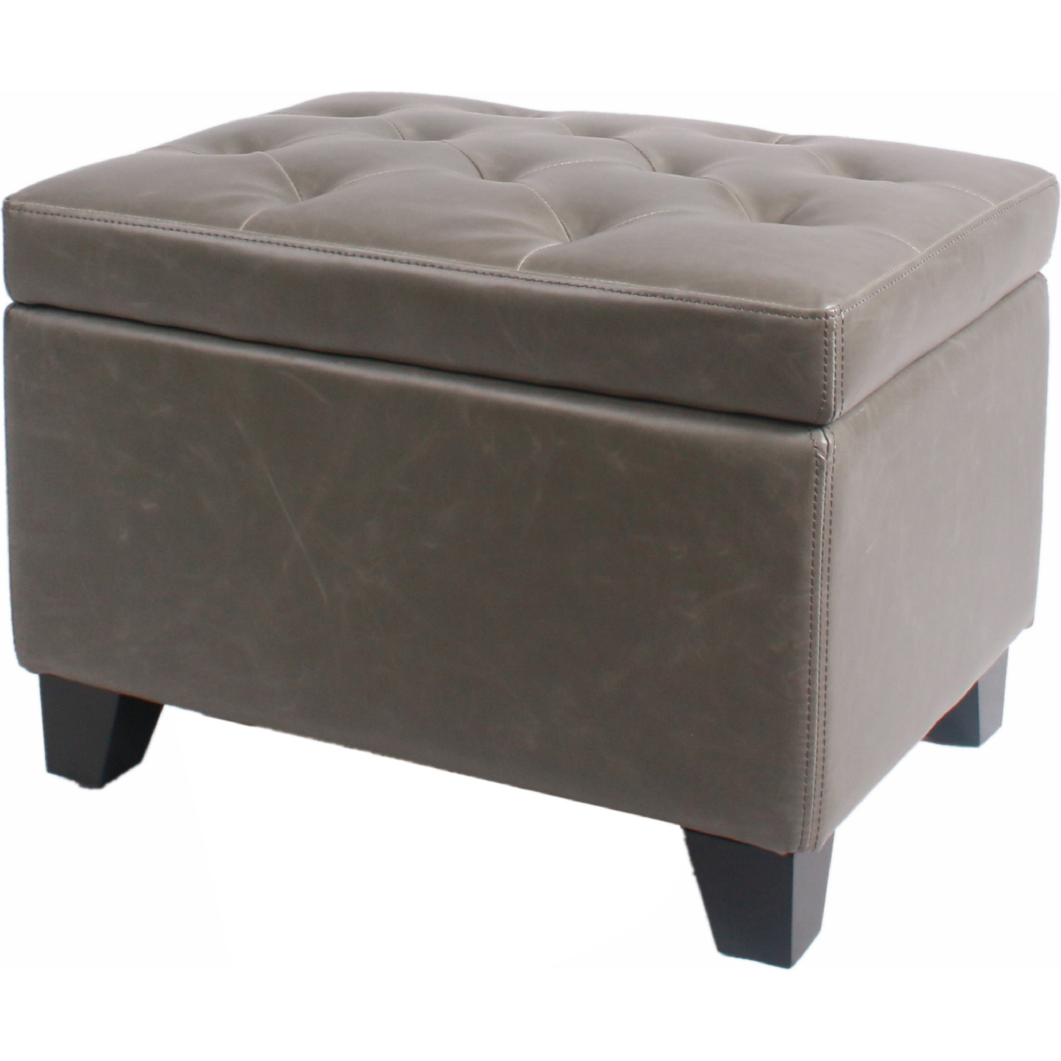 Tremendous Julian Rectangular Storage Ottoman In Vintage Gray Bonded Leather On Drift Wood Legs By New Pacific Direct Short Links Chair Design For Home Short Linksinfo