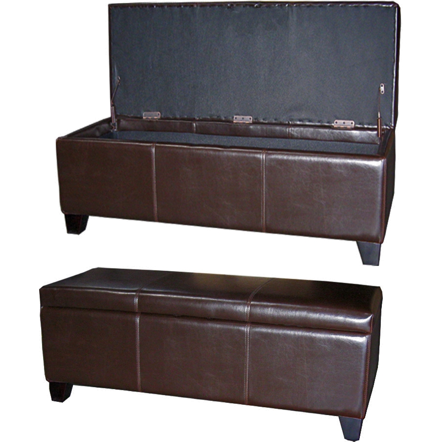 Surprising Luisa 48 Storage Ottoman In Brown Bonded Leather On Dark Mahogany Finish Birch Legs By New Pacific Direct Caraccident5 Cool Chair Designs And Ideas Caraccident5Info