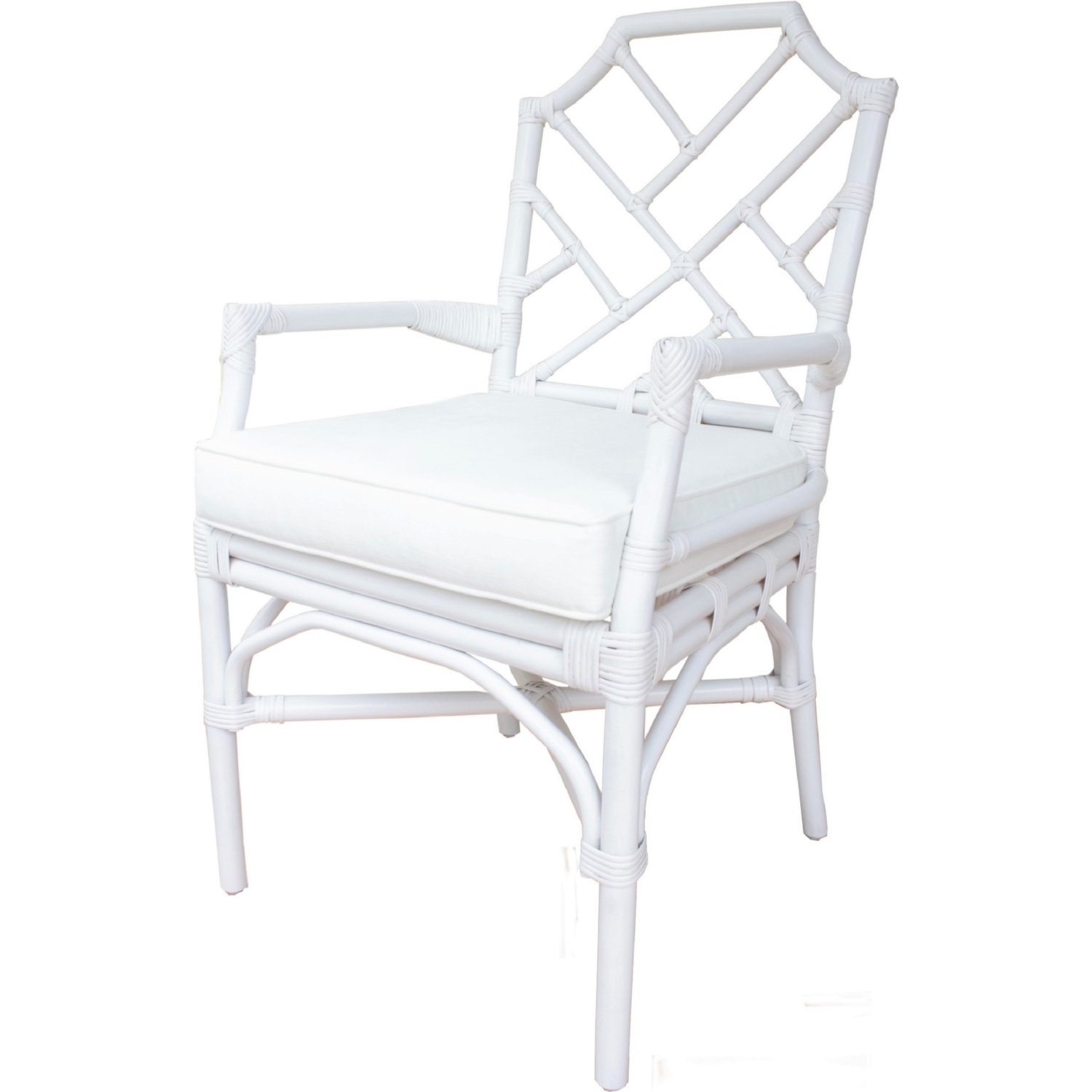 Cool Kara Rattan Arm Chair In White Fabric By New Pacific Direct Gmtry Best Dining Table And Chair Ideas Images Gmtryco