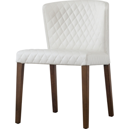 Fantastic Albie Dining Chair In Diamond Stitched White Bonded Leather Set Of 2 By New Pacific Direct Spiritservingveterans Wood Chair Design Ideas Spiritservingveteransorg