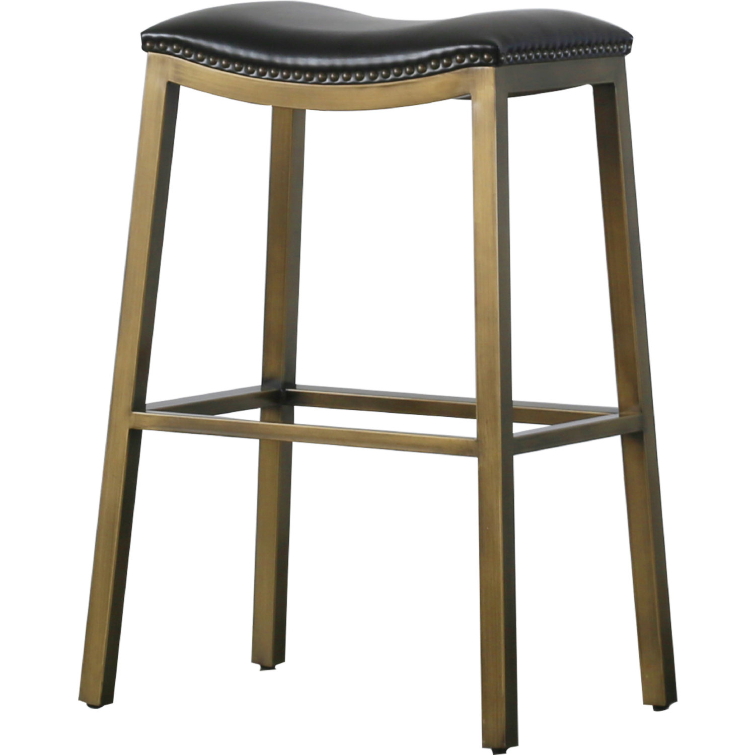 Awesome Elmo Bar Stool In Black Leather On Brushed Gold By New Pacific Direct Machost Co Dining Chair Design Ideas Machostcouk