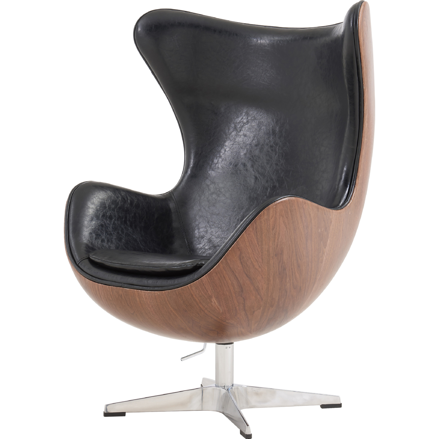 Magnificent Axis Swivel Rocker Chair In Walnut W Distressed Black Leatherette By New Pacific Direct Machost Co Dining Chair Design Ideas Machostcouk