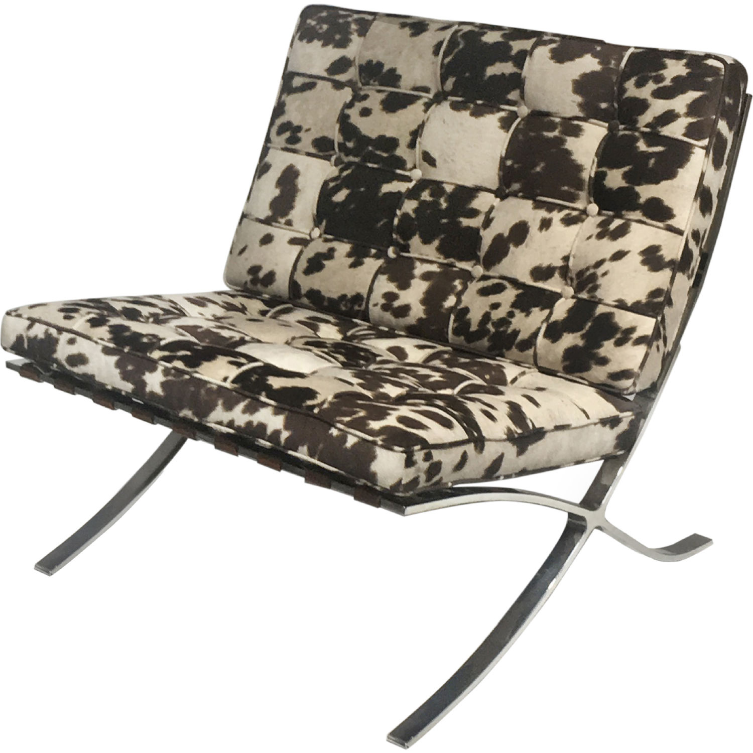 Barca Accent Chair In Brown Cow Print Fabric Brushed Stainless By New Pacific Direct