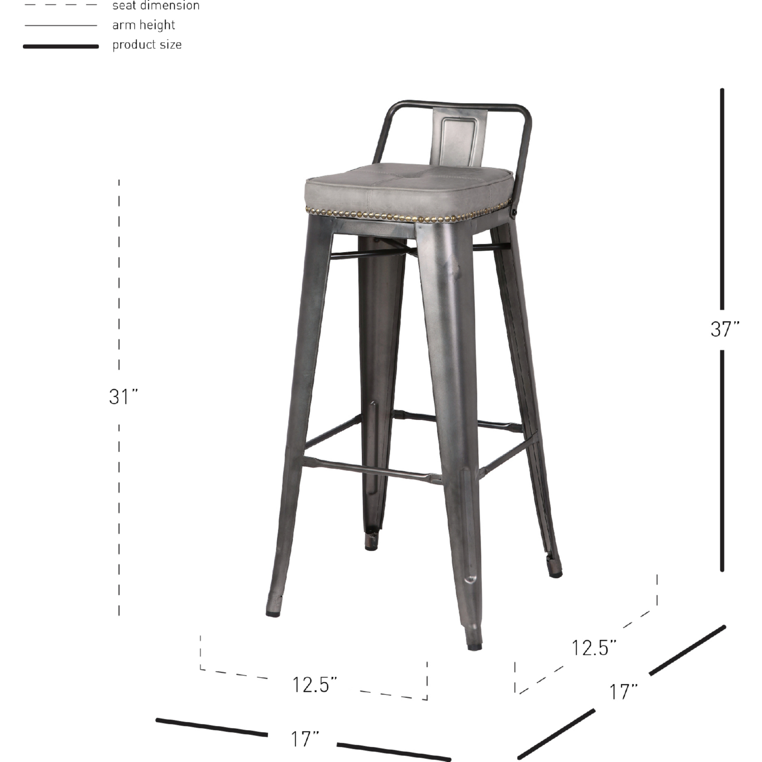 Admirable Metropolis Low Back Bar Stool In Gray Leatherette Gunmetal By New Pacific Direct Caraccident5 Cool Chair Designs And Ideas Caraccident5Info