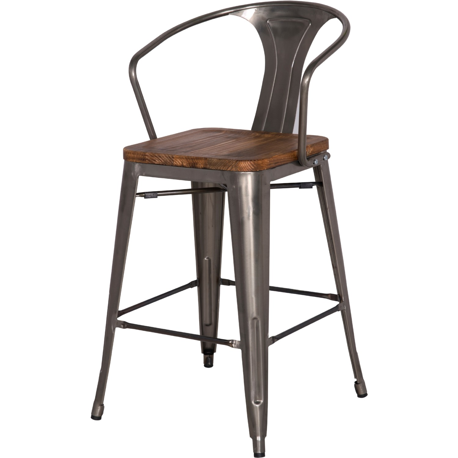 Npd 938544 Gm Metropolis Metal Bar Stool Wood Seat In Gunmetal Powder Coated Steel Set Of 4