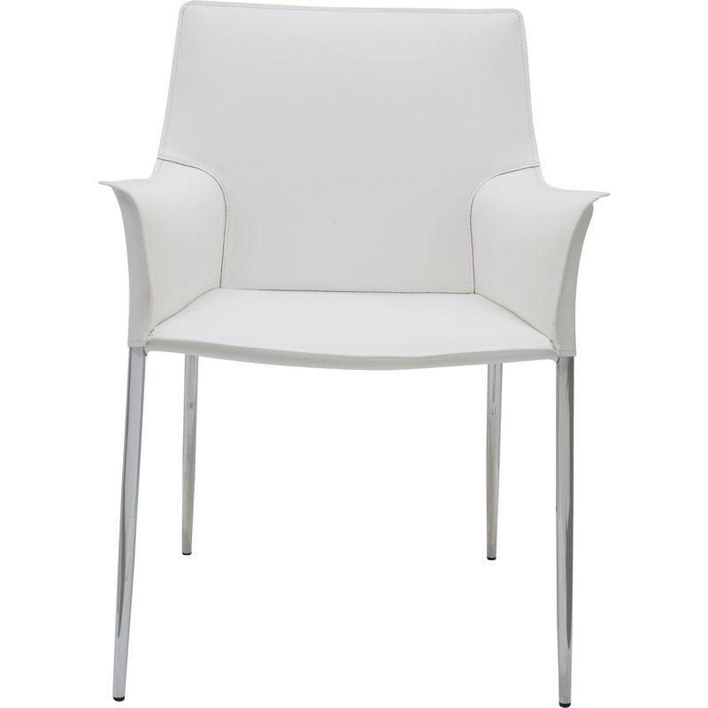 Nuevo Modern Furniture Colter Arm Dining Chair In White Leather W/ Chrome  Legs