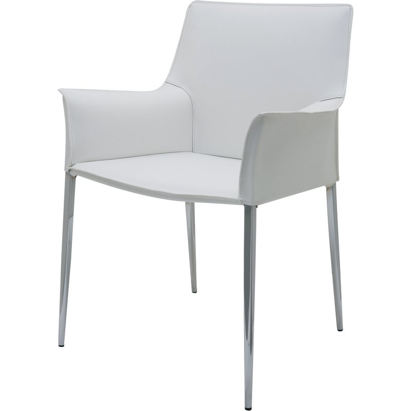 Colter Arm Dining Chair In White Leather W Chrome Legs By Nuevo Modern Furniture