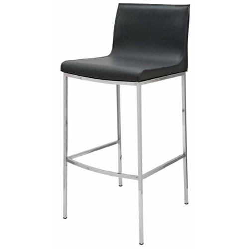 Remarkable Colter Bar Stool In Black Leather Chrome By Nuevo Modern Furniture Gmtry Best Dining Table And Chair Ideas Images Gmtryco