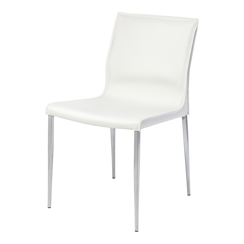Fine Colter Armless Dining Chair In White Leather Chrome By Nuevo Modern Furniture Caraccident5 Cool Chair Designs And Ideas Caraccident5Info