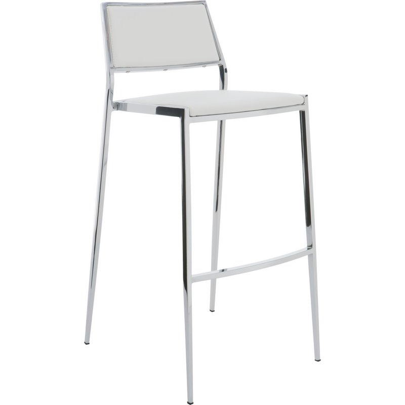 Awesome Aaron Stackable Counter Height Stool In White Naugahyde By Nuevo Modern Furniture Gmtry Best Dining Table And Chair Ideas Images Gmtryco