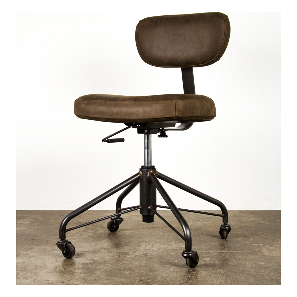 Awesome Rand Office Chair Adjustable Back In Umber Leather