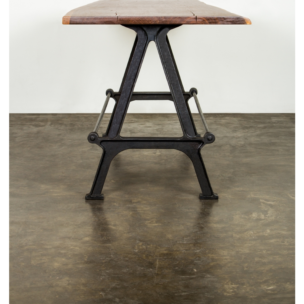 kosen bar height dining table w smoked oak top on cast iron base