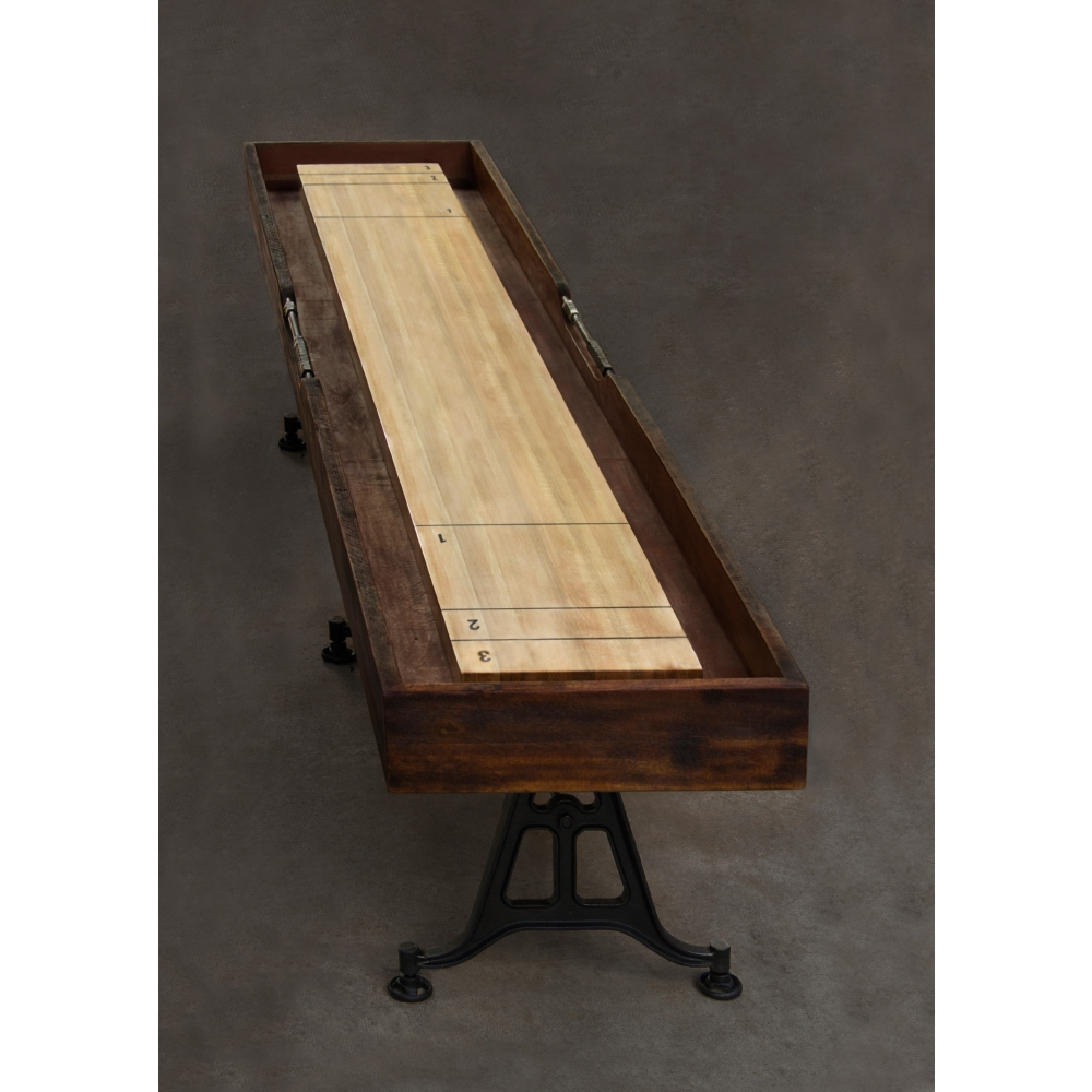 Shuffleboard Table In Reclaimed Harwood U0026 Leather On Cast Iron Legs