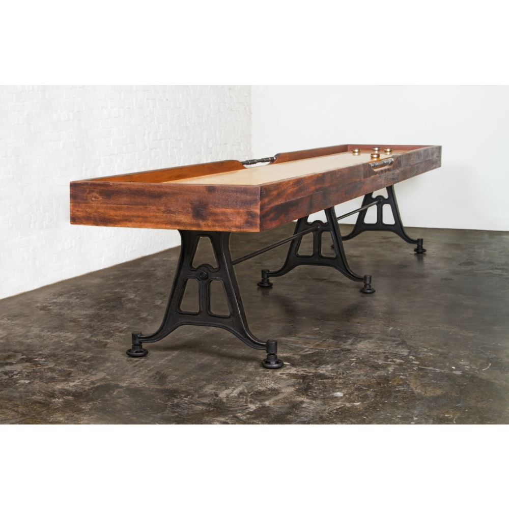 Nuevo Modern Furniture Shuffleboard Table In Reclaimed Harwood U0026 Leather On  Cast Iron Legs