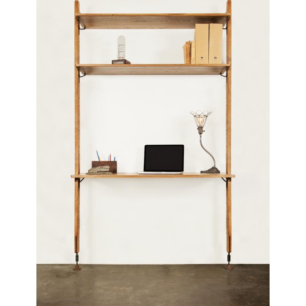 Theo Shelving Unit w/ Desk & 2 Shelves in Hard Fumed Oak