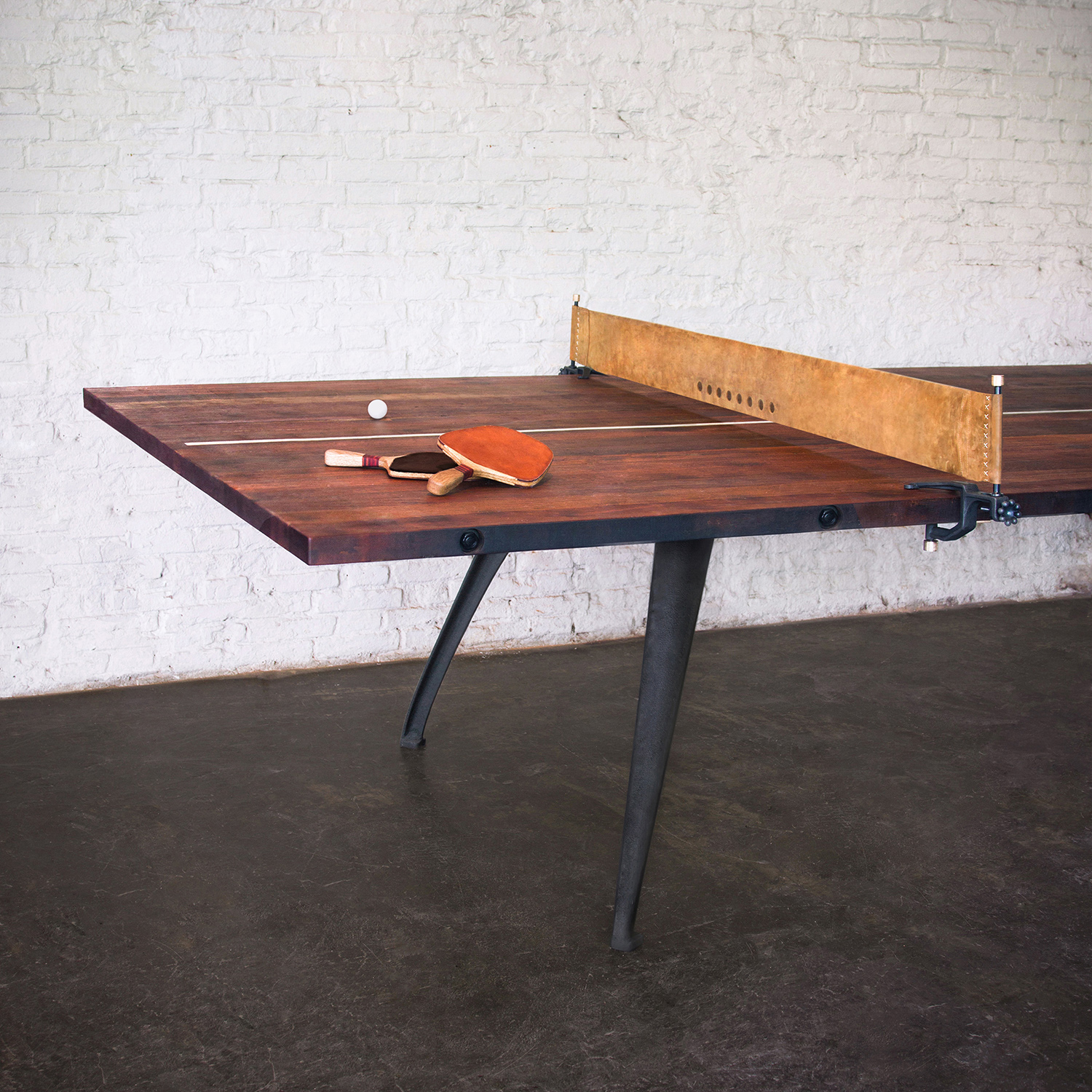 Nuevo modern furniture hgda494 ping pong table gaming table in reclaimed hardwood black cast iron