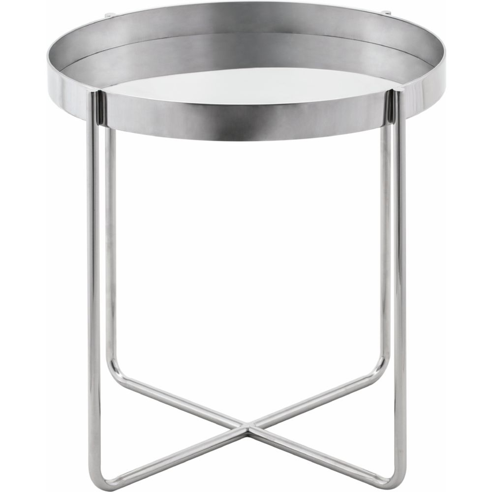 Charmant Nuevo Modern Furniture Gaultier Round Tray Style Side Table In Silver  Polished Stainless Steel