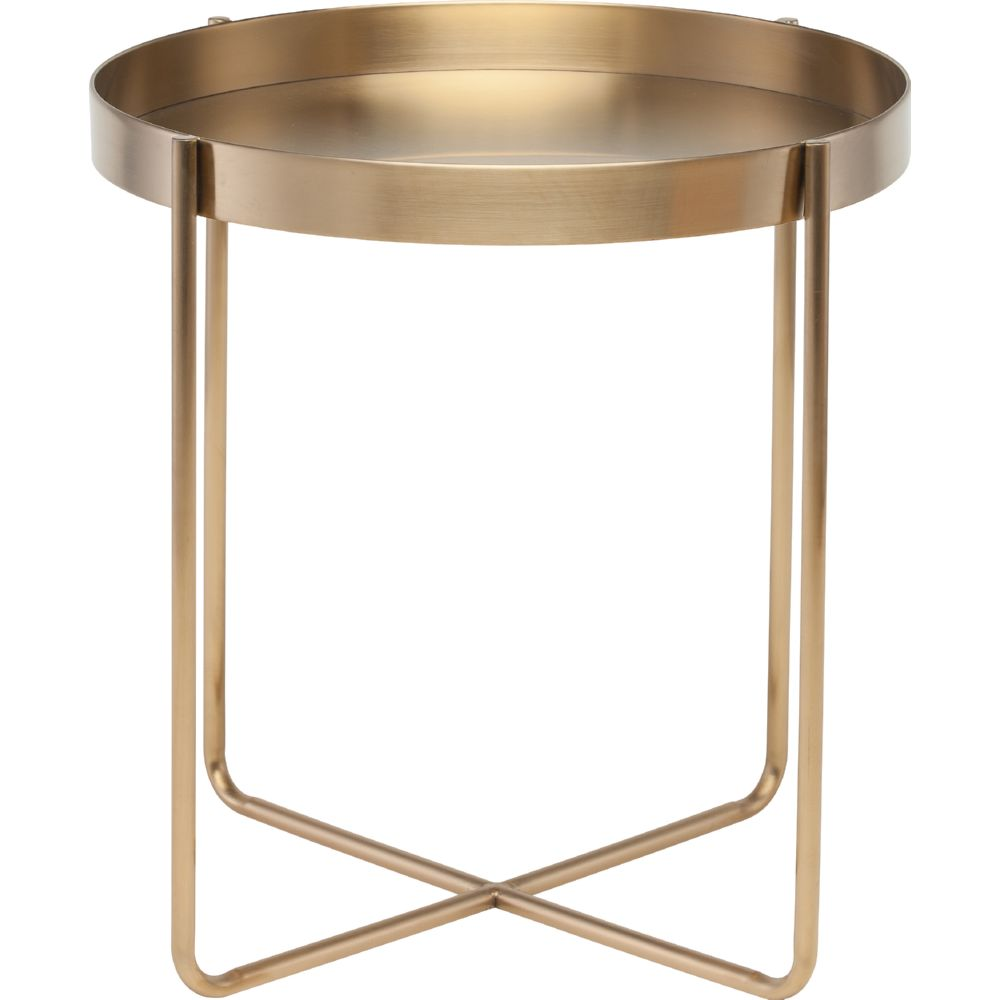 Gaultier Side Table In Gold Brushed Stainless Steel