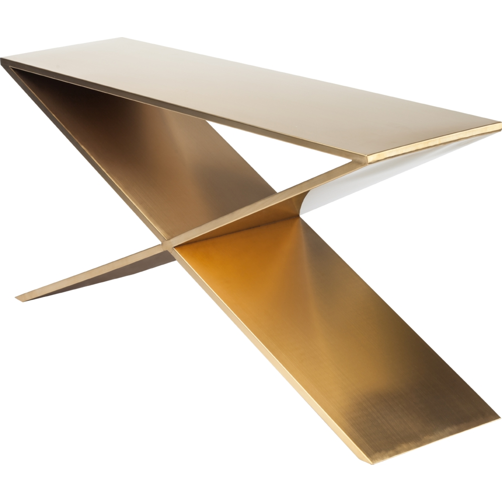 Nuevo Modern Furniture Prague Console In Brushed Gold Stainless Steel