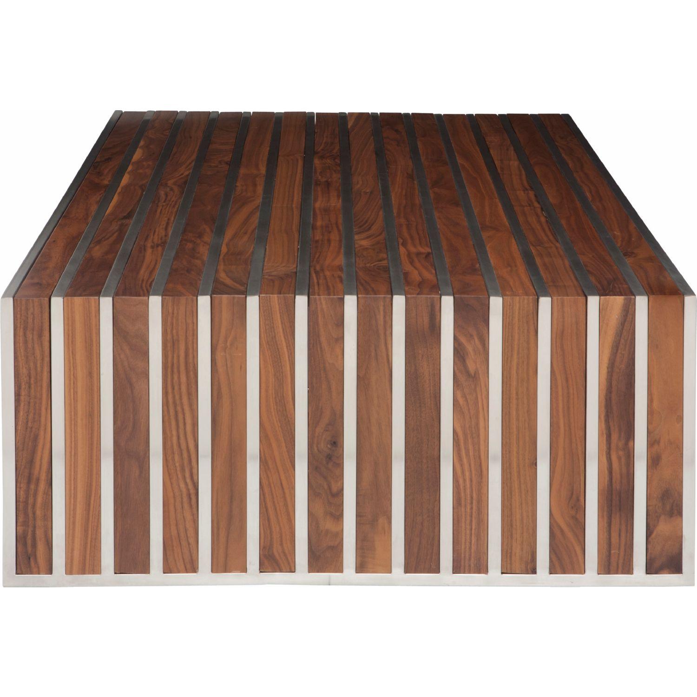 nuevo modern furniture hgem american amici coffee table in  - nuevo modern furniture american amici coffee table in walnut  stainlesssteel