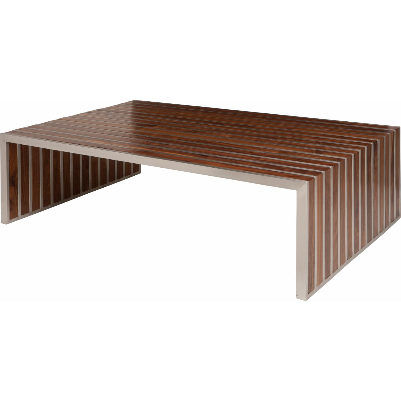 nuevo modern furniture hgem american amici coffee table in  - american amici coffee table in walnut  stainless steel