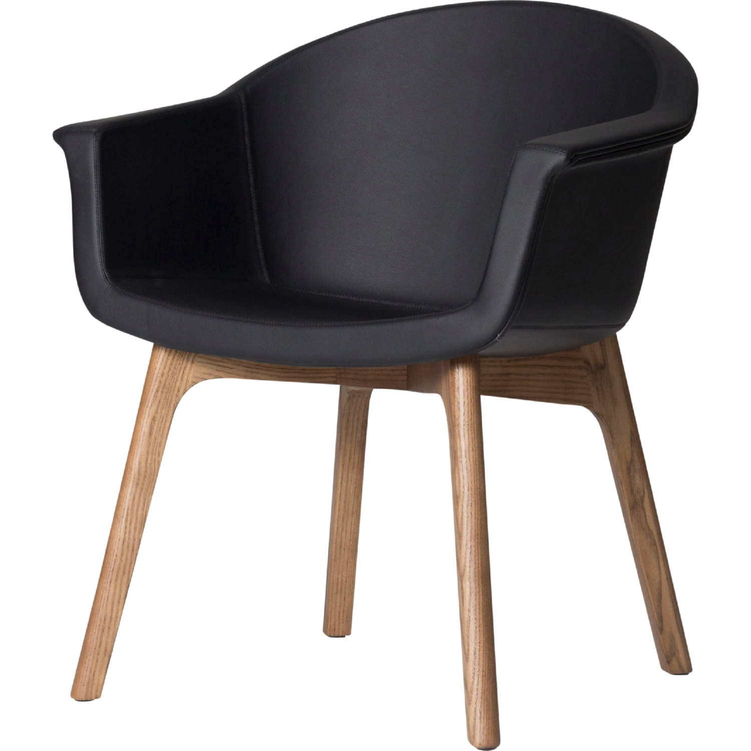 Fantastic Vitale Accent Chair In Black Naugahyde On Ash Stained Walnut Legs By Nuevo Modern Furniture Ncnpc Chair Design For Home Ncnpcorg