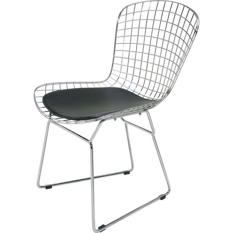 Swell Wire Dining Or Accent Chair In Chrome W Black Cushion By Nuevo Modern Furniture Creativecarmelina Interior Chair Design Creativecarmelinacom