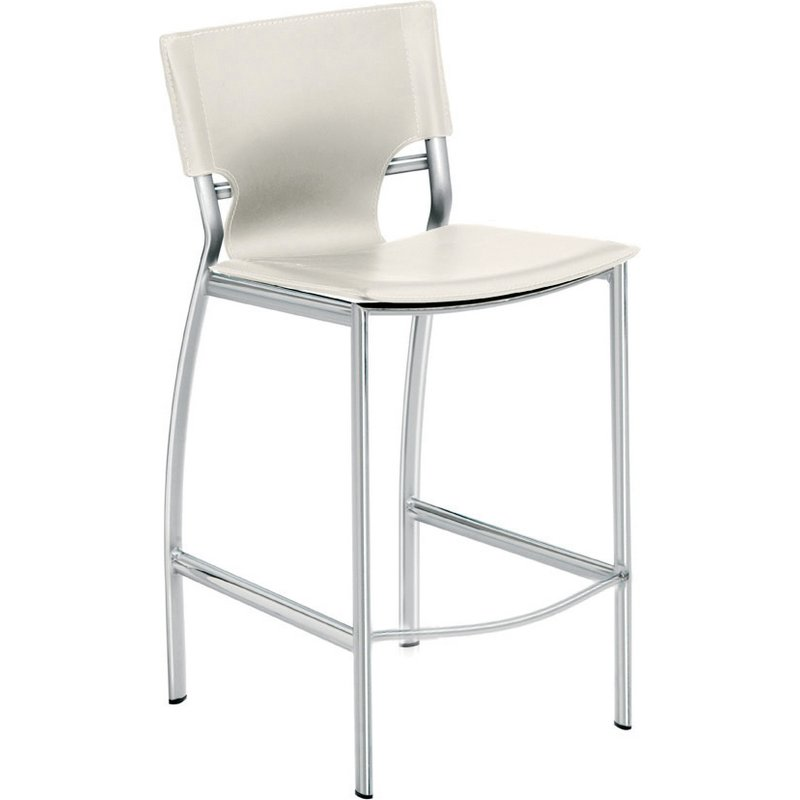 Lisbon Counter Height Stool In White Top Grain Italian Leather By Nuevo Modern Furniture